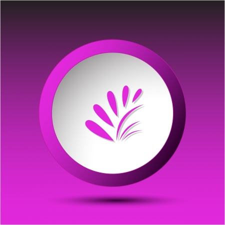 incurved: Plant. Plastic button. Vector illustration. Stock Photo