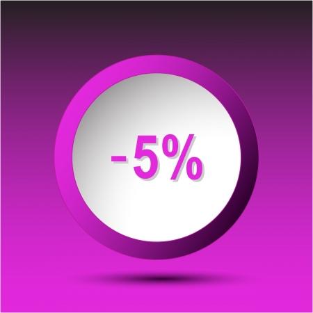 -5%. Plastic button. Vector illustration. Stock Illustration - 15724573