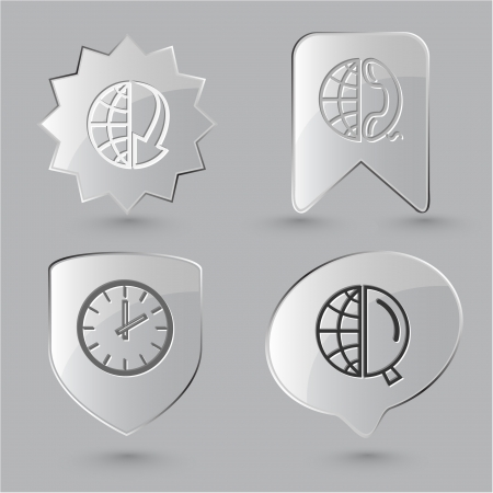 lookup: Business icon set. Globe and array down, globe and magnifying glass, globe and phone, clock. Glass buttons.