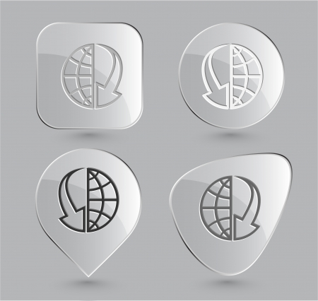 Globe and array down. Glass buttons. Vector illustration. Stock Illustration - 15758225