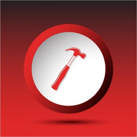 Hammer. Plastic button. Vector illustration. illustration
