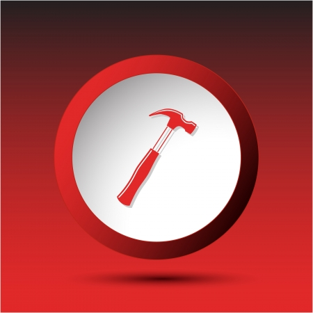 incurved: Hammer. Plastic button. Vector illustration.