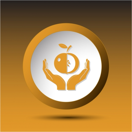 incurved: apple in hands. Plastic button. Vector illustration. Stock Photo