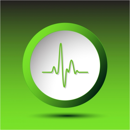 palpitation: Cardiogram. Plastic button. Vector illustration.