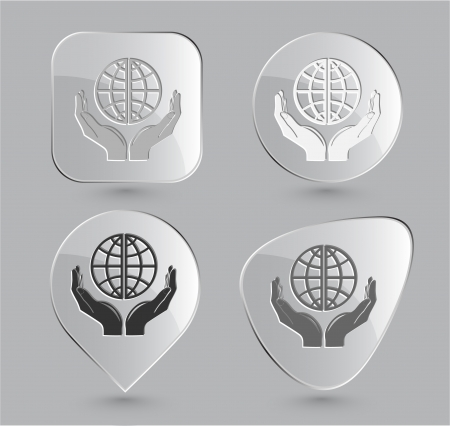 Protection world. Glass buttons. Vector illustration. Stock Illustration - 15858059