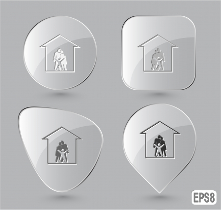 Family. Glass buttons. Vector illustration. illustration