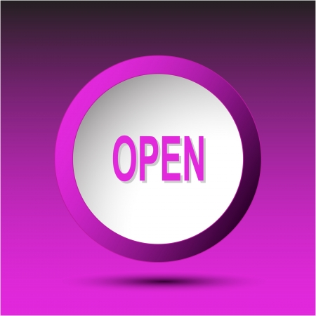 unrestricted: Open. Plastic button. Vector illustration.