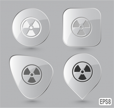 Radiation symbol. Glass buttons. Vector illustration. illustration