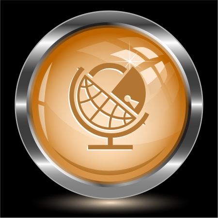 Globe and lock. Internet button. Vector illustration. illustration