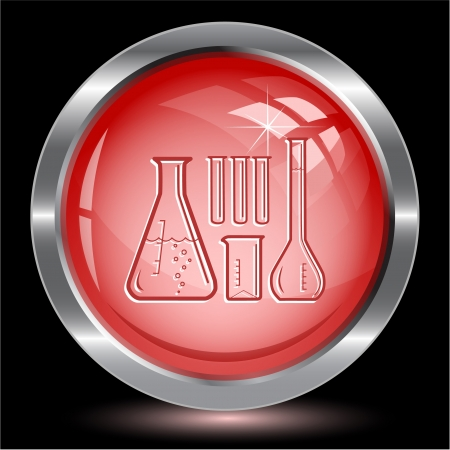 Chemical test tubes. Internet button. Vector illustration. Stock Illustration - 15914110