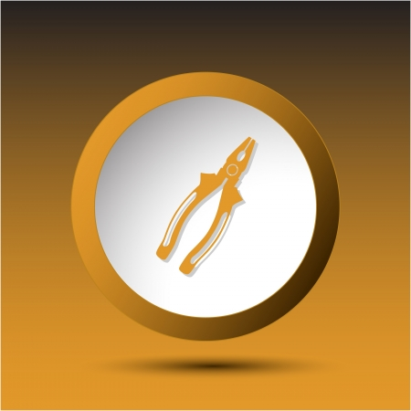 concave: Combination pliers. Plastic button. Vector illustration. Stock Photo