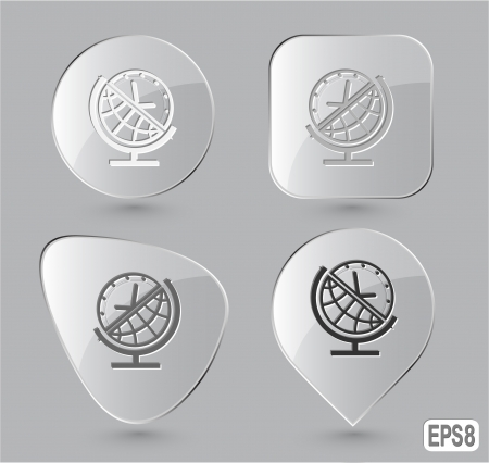Globe and clock. Glass buttons. Stock Photo - 15993037