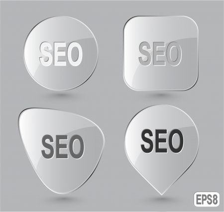 Seo. Glass buttons. Vector illustration. Stock Illustration - 15992764