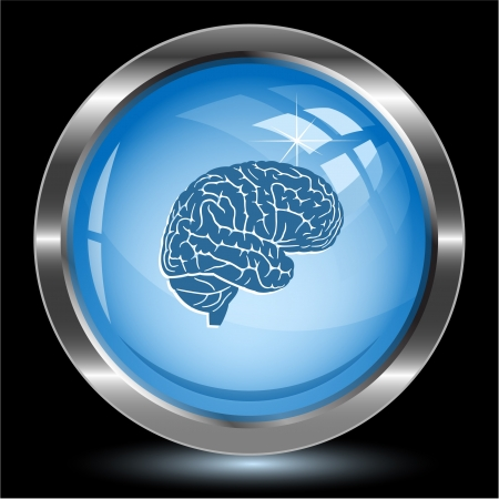 Brain. Internet button.  Stock Photo - 15993038