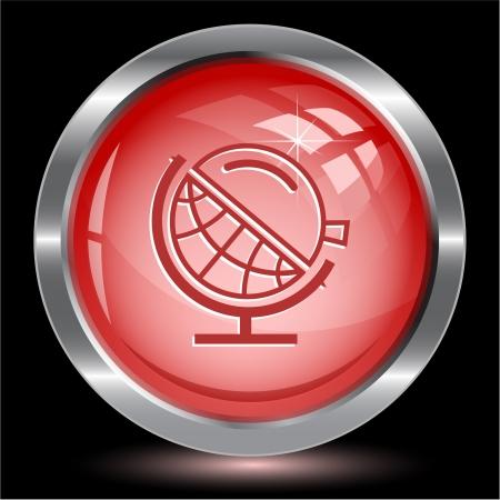 Globe and loupe. Internet button. Stock Photo - 15993062