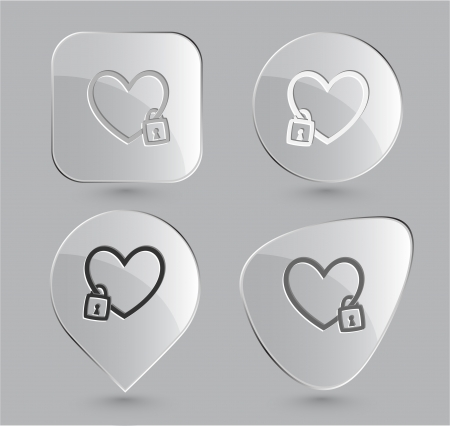 Closed heart. Glass buttons. Vector illustration. illustration