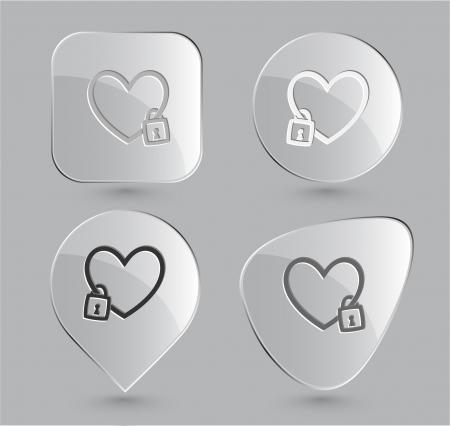 Closed heart. Glass buttons. Vector illustration. Stock Illustration - 16218894