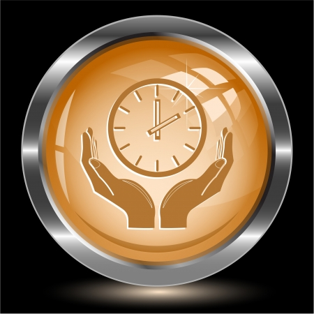 clock in hands. Internet button. Vector illustration. illustration
