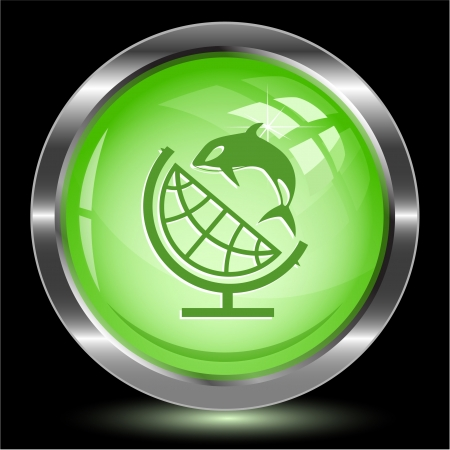 Globe and shamoo. Internet button. Vector illustration. illustration
