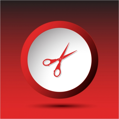 Scissors. Plastic button. Vector illustration. illustration