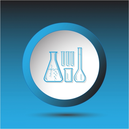 incurved: Chemical test tubes. Plastic button. Vector illustration.