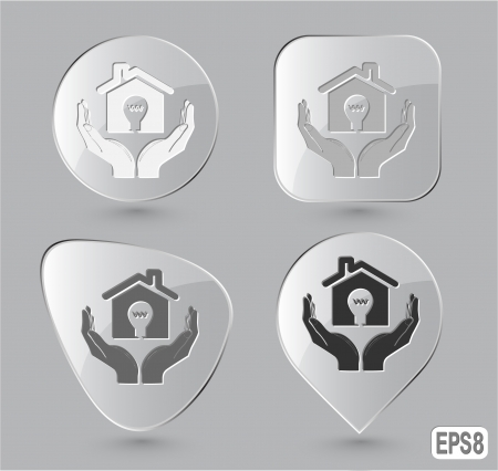 economy in hands. Glass buttons photo