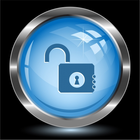 Opened lock. Internet button. Vector illustration. illustration