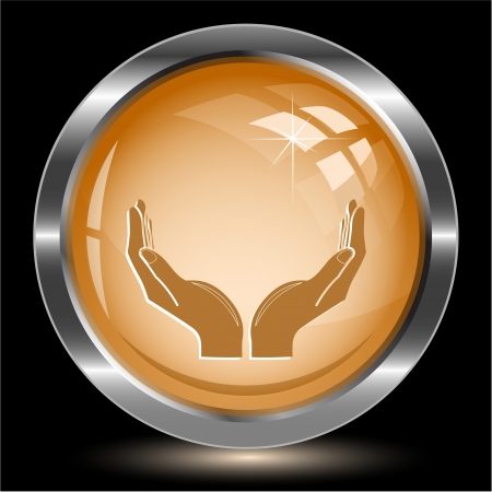 Human hands. Internet button. Vector illustration. illustration