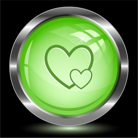 careful: Careful heart. Internet button. Vector illustration.