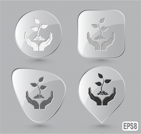 life in hands. Glass buttons. Stock Photo - 16804739