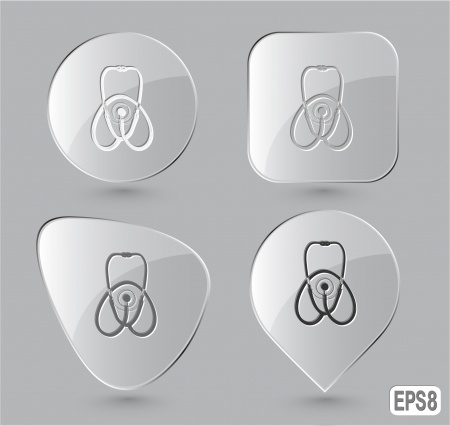 listening to heartbeat: Stethoscope. Glass buttons.  Stock Photo
