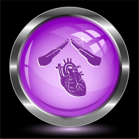 Heart protect. Internet button. Stock Photo - 16805144