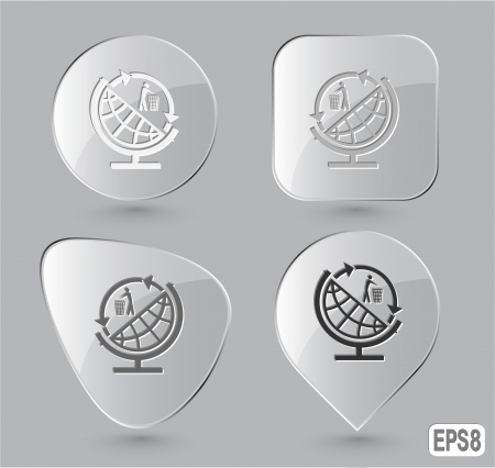 Globe and recycling symbol. Glass buttons.   Stock Photo - 17127855
