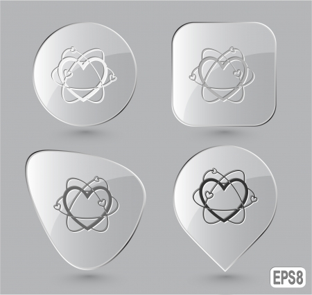 Atomic heart. Glass buttons. Stock Photo - 17127854
