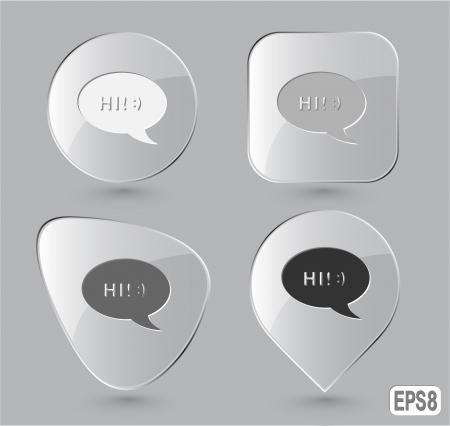 Chat symbol. Glass buttons. illustration. Stock Illustration - 17163684