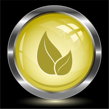 Leaf. Internet button. illustration. Stock Illustration - 17163694