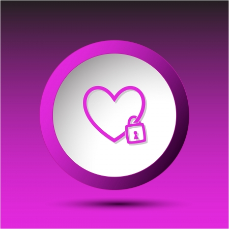 incurved: Closed heart. Plastic button. illustration.