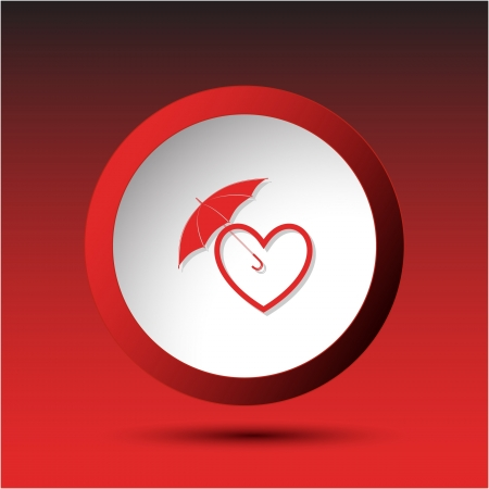 incurved: Protection love. Plastic button. illustration. Stock Photo