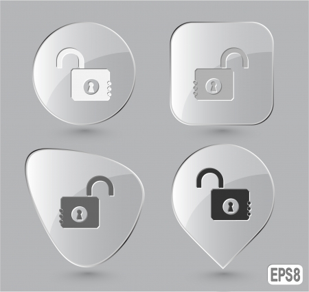 Opened lock. Glass buttons. Vector illustration. illustration