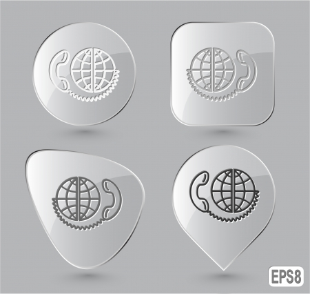 Global communication. Glass buttons. Vector illustration. illustration