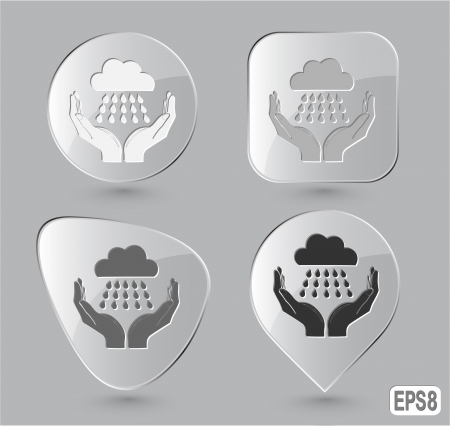 weather in hands. Glass buttons. Vector illustration. illustration