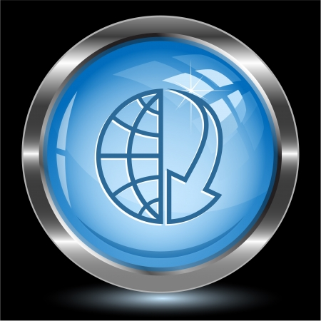 Globe and array down. Internet button. Vector illustration. illustration