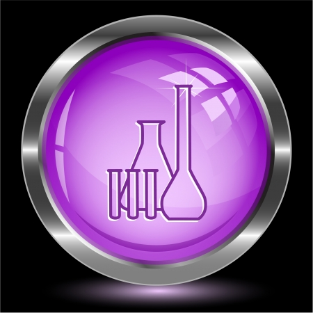 Chemical test tubes. Internet button. Vector illustration. Stock Illustration - 17194405