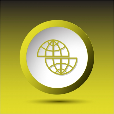shift: Shift globe. Plastic button. Vector illustration. Stock Photo
