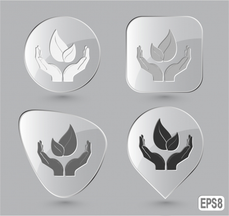 life in hands. Glass buttons. Vector illustration. illustration