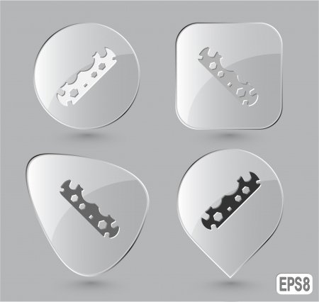 leverage: Cycle spanner. Glass buttons. Vector illustration. Stock Photo