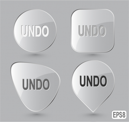 override: Undo. Glass buttons. Vector illustration. Stock Photo
