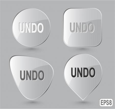 undoing: Undo. Glass buttons. Vector illustration. Stock Photo