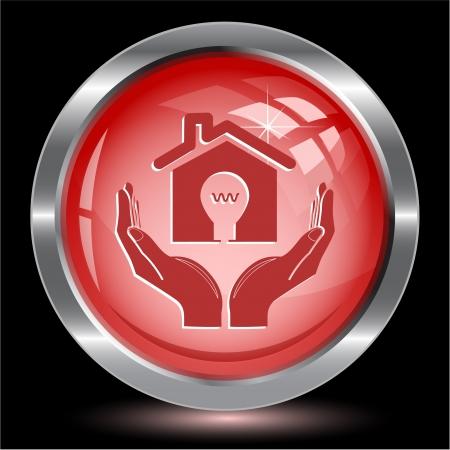 economy in hands. Internet button. Vector illustration. illustration