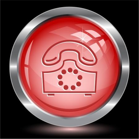 Old phone. Internet button. Vector illustration. Stock Illustration - 17216506